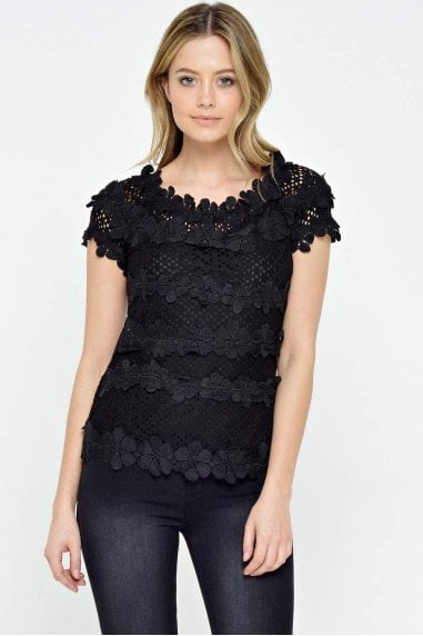 Katie Floral Top in Black