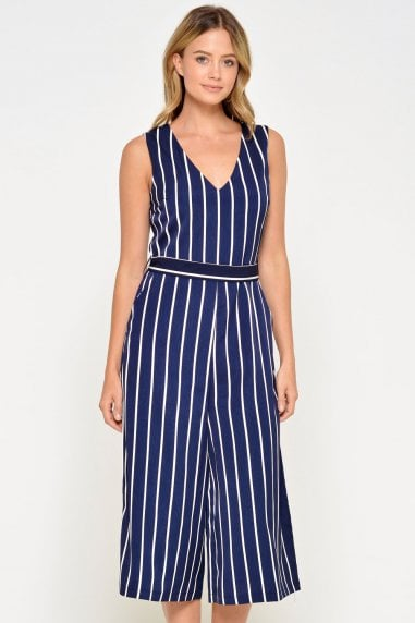 Valerie Striped Culotte Jumpsuit in Navy