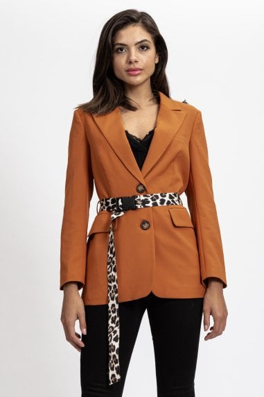 Camel Jacket with Animal Printed Belt
