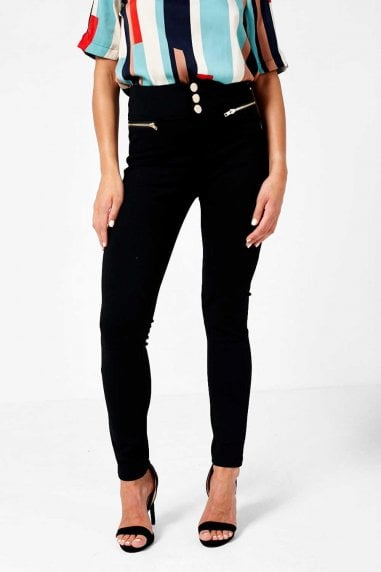 Madison Gold Button Jeggings in Black