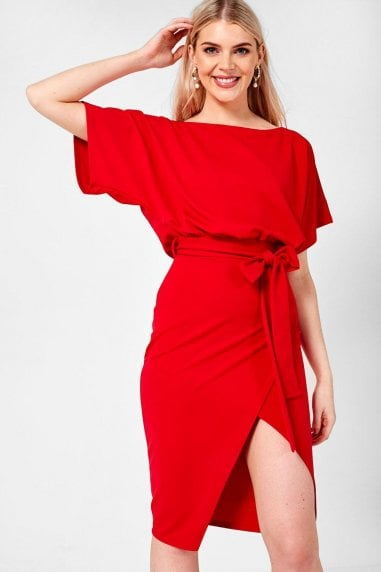 Lainey Kimono Sleeve Dress in Red