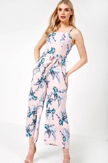 Cairo Tropical Print Cropped Jumpsuit in Pink
