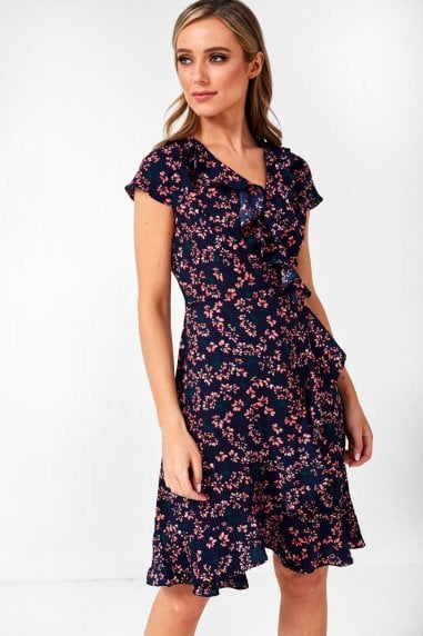 Leona Ditsy Floral Wrap Dress in Navy