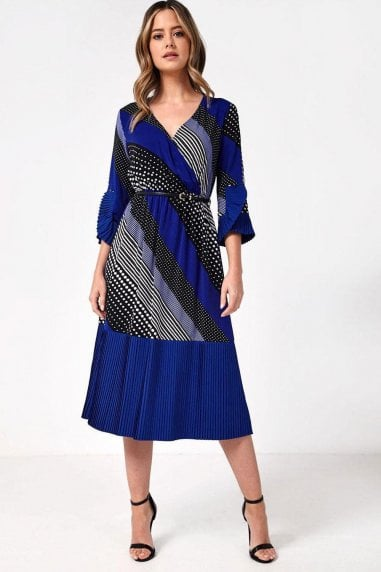 Naomi Midi Dress in Contrast Spot and Stripe Print
