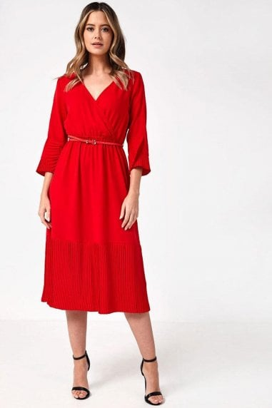 Jinx Belted Pleated Hem Midi Dress in Red