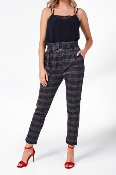 Mae Paperbag Waist Trousers in Grey Check