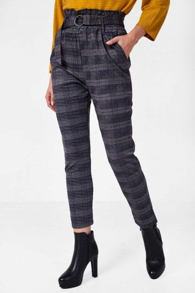 Mae Paperbag Waist Trousers in Navy Check