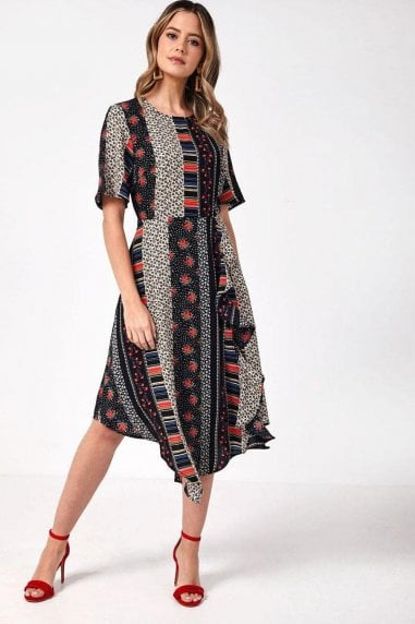 Renee Trapeze Hem Patchwork Print Dress in Black