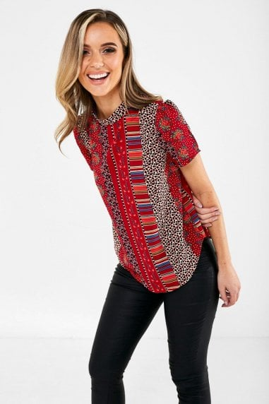 Ruby Short Sleeve Patchwork Print Top in Red