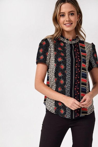 Ruby Short Sleeve Patchwork Print Top in Black