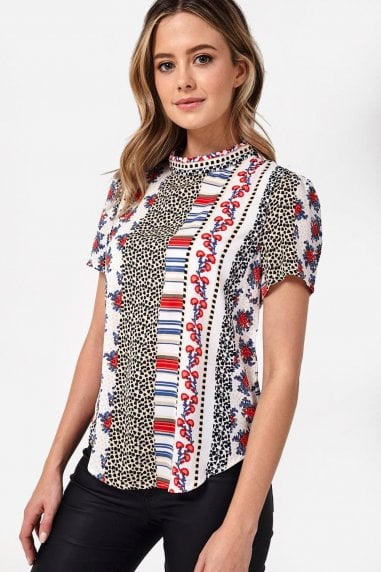 Ruby Short Sleeve Patchwork Print Top in White