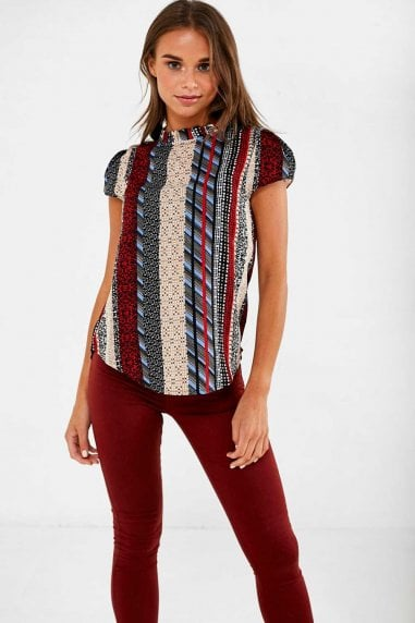 Suzy Frill Neck Top in Red Patchwork Print