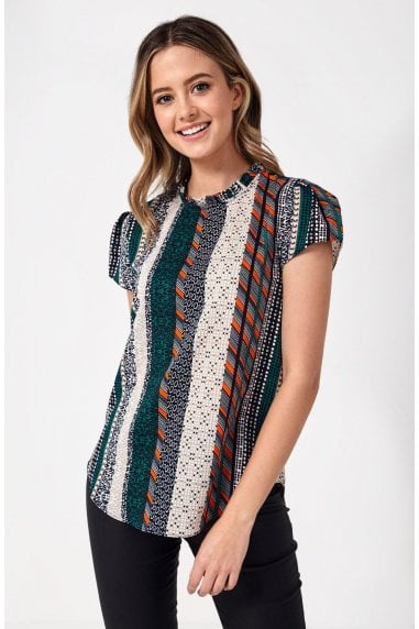 Suzy Frill Neck Top in Green Patchwork Print