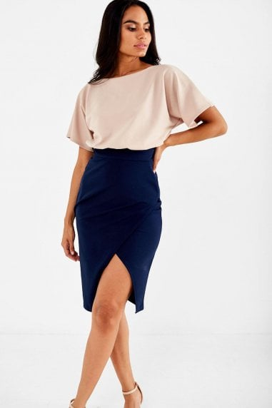Lainey Kimono Sleeve Two Tone Dress in Navy
