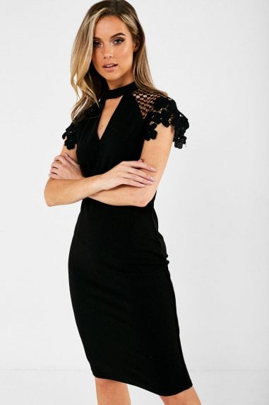 Gaia Occasion Dress With Lace Sleeve in Black