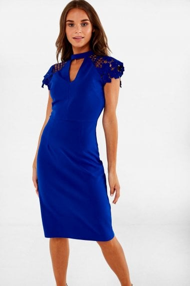 Gaia Occasion Dress With Lace Sleeve in Cobalt Blue