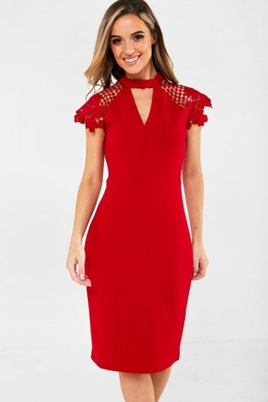 Gaia Occasion Dress With Lace Sleeve in Red