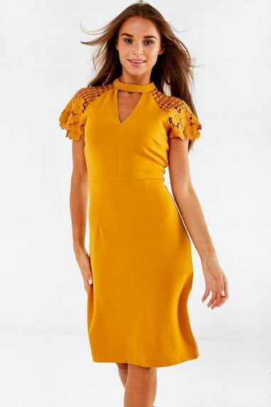 Gaia Occasion Dress With Lace Sleeve in Mustard