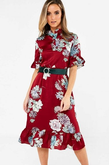 Hebe Floral Print Shirt Dress in Wine