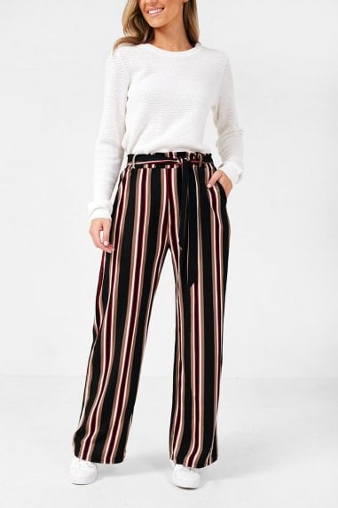 Junia Stripe Trouser in Black