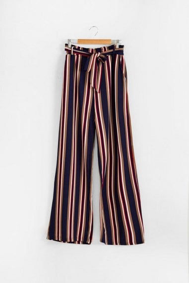 Junia Stripe Trouser in Navy
