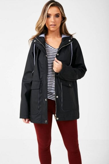 Lilly Stripe Lined Raincoat in Black
