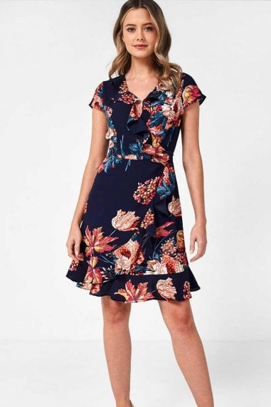 Georgia Floral Wrap Dress in Navy