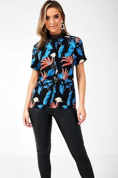 Rachel Leaf Print Blouse in Black