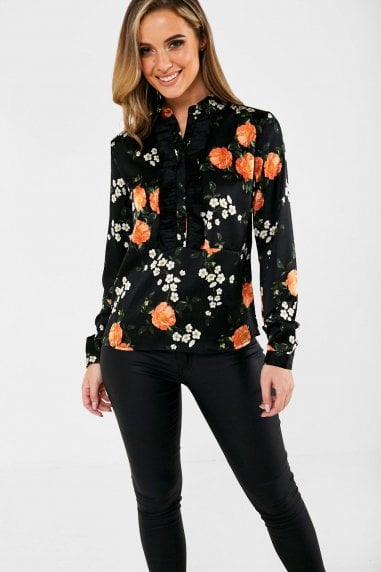 Haven Floral Print Shirt in Black