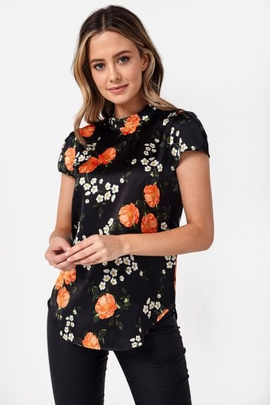 Roman Floral Frill Top in Black
