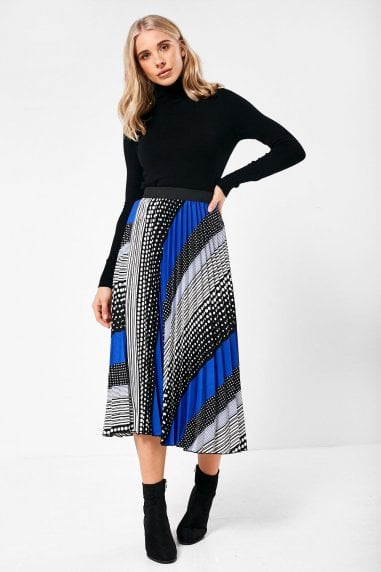 Jordan Multi Print Pleated Skirt in Blue