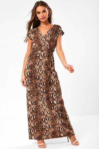 Monroe Snakeskin Print Maxi Dress in Brown