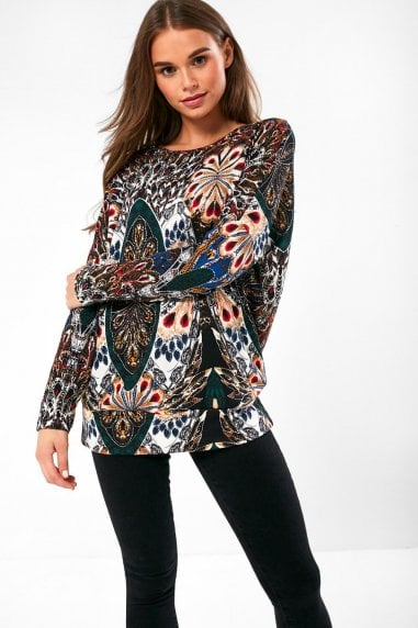 Casablanca Knit Top in Peacock Print