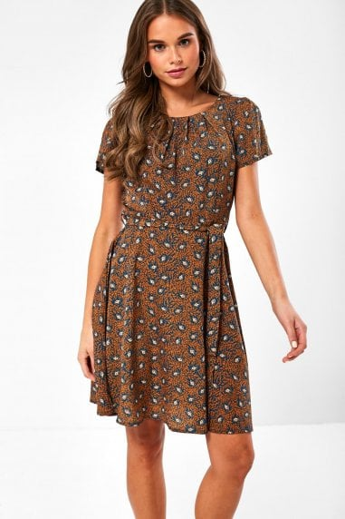 Frankie Paisley Print Short Dress in Orange