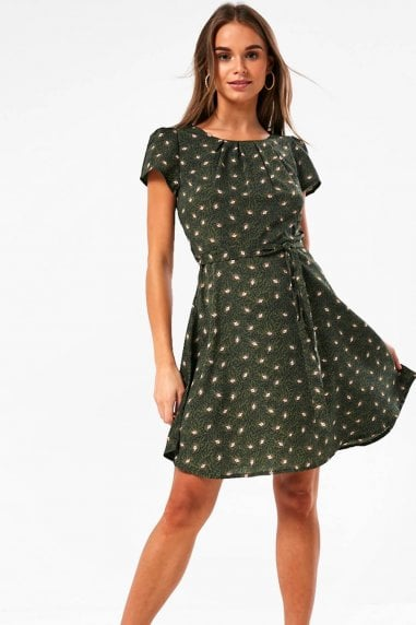 Frankie Paisley Print Short Dress in Olive