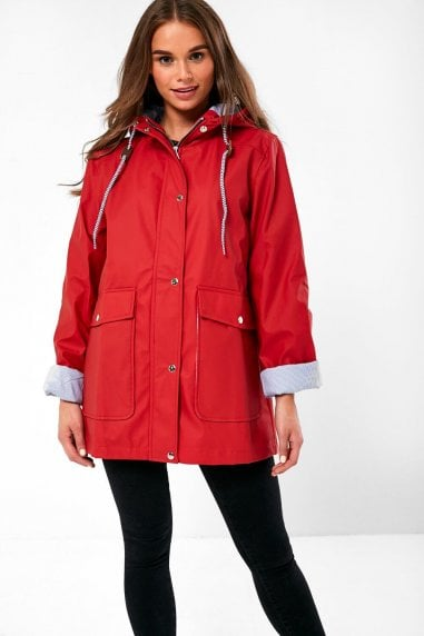 Lilly Stripe Lined Raincoat in Red