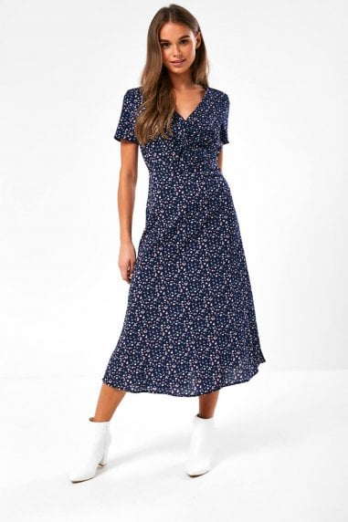 Skyler Midi Dress in Navy Ditsy Print