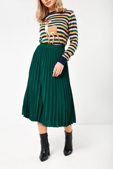 Maria Pleated Skirt in Green