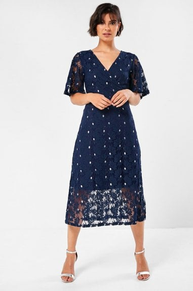 Aoife Floral Lace Dress in Navy