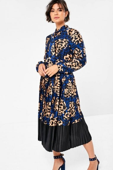 Amberly Midi Dress in Blue Animal Print