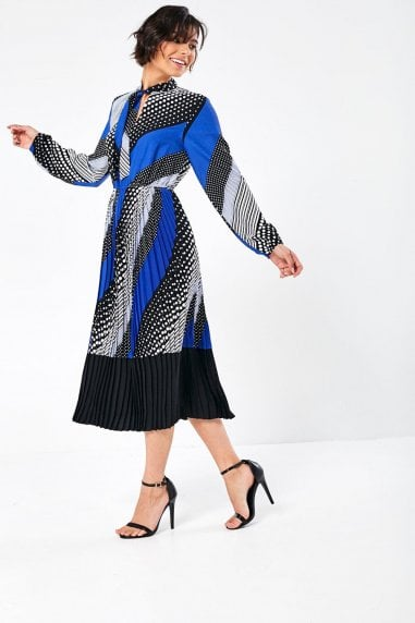 Dolly Midi Dress in Blue Multi Print