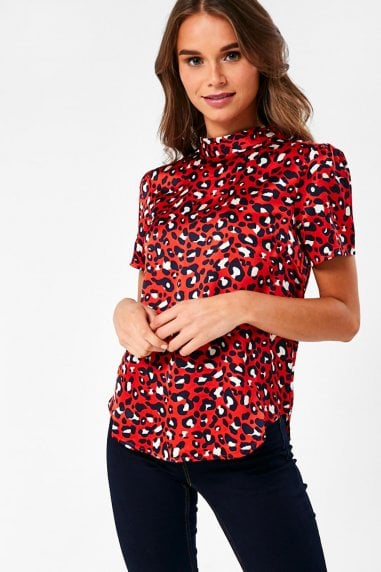 Zephyr Animal Print Blouse in Red