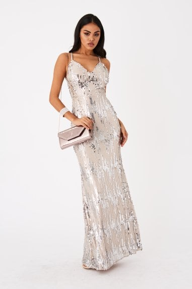 Frost Silver Sequin Maxi Dress