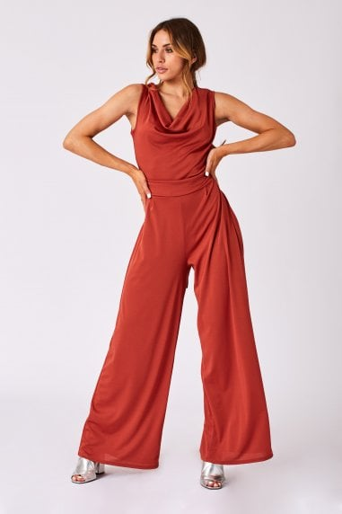 Clarion Rust Cowl-Neck Wide-Leg Jumpsuit