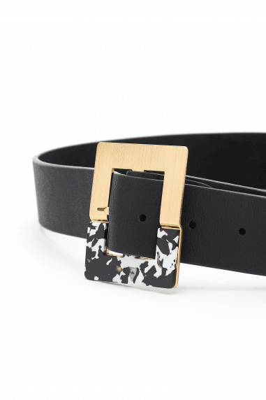 Black Square Resin Buckle Belt