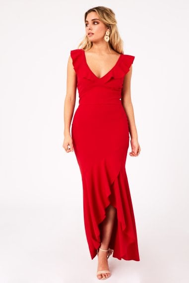 Tammi Red Fishtail Maxi Dress