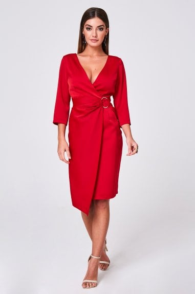 Varsha Red Satin Ring Buckle Wrap Dress