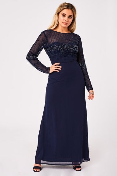Georgie Navy Hand Embellished Maxi Dress