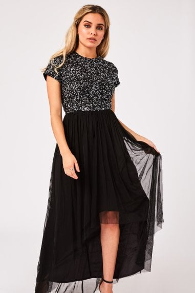 Elise Black Hand-Embellished Sequin Hi-Low Prom Dress
