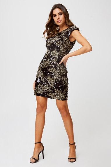 Alfre Black Baroque Sequin Bodycon Dress